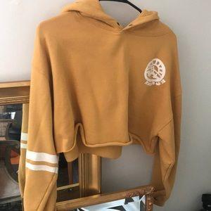 Free people cropped fleece hoodie
